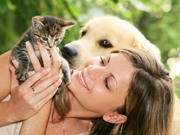 Dogs and cats healing people to relax